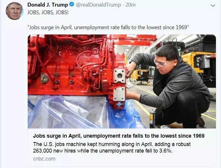 大超预期!美国4月就业市场强劲,失业率创49年新低!